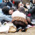 【画像】花見でほろ酔いの女性たちがパンチラしまくりw